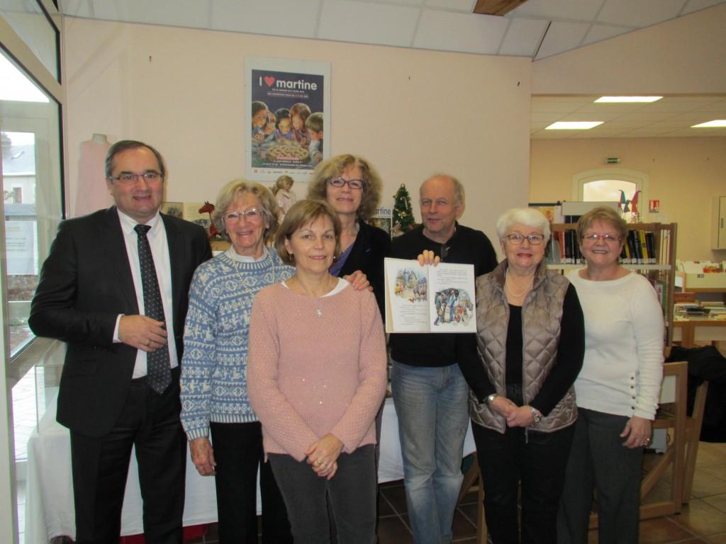 Photo de gauche à droite Hubert Courseaux, Colette Pivert, Brigitte Leclerc, Isabelle Pivert, Denis Favril, Martine Duperray, Michèle Jamet (photo parue dans Ouest-France du 03/02/2015 et journal le Pays d'Auge le 06/02/2015)