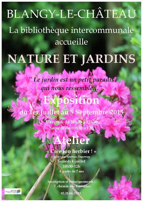 Exposition nature et jardins à la bibliothèque de Blangy le Château. affiche